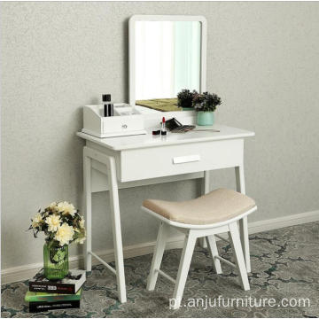 Wooden makeup vanity mirrored dressing Vanity table Cushioned Stool