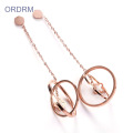 Cool Rose Gold Dangle Circle Earrings For Girls