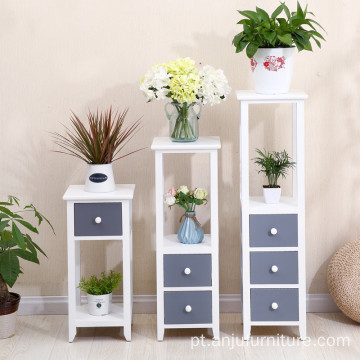 Rustic white Wood Design Freestanding Foldable Shelf Rack Decorative Planter Pot Display Stand