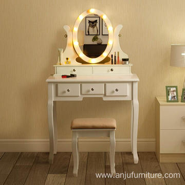 Vanity Dressing Desk Set with 10 LED Lights 5 Drawers Makeup Table with Stool