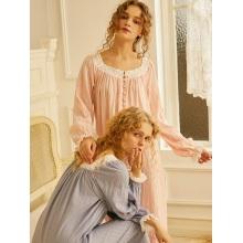 Spring Autumn 100% Cotton Women's Sleepwear Pink Princess Girls Long Nightgowns Loose Nightwear
