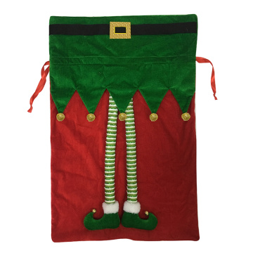 Santa sack  velvet red green bag