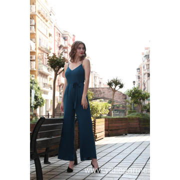Teal Color Wide Leg Cami Jumpsuit
