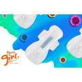 Winged feminine sanitary napkins with green anion chip