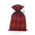 Red Diamond Pattern Christmas Plastic Gift Packing Bags
