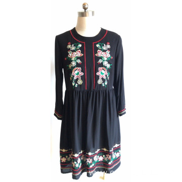 Viscose 3/4 Sleeve for Ladies Viscose Embroidery Dress