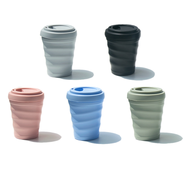 Food grade silicone coffe cup with lid