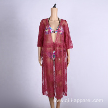 embroidered sun-proof clothing cover up crochet dress beach