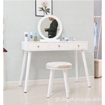 White portable wooden dressing table set