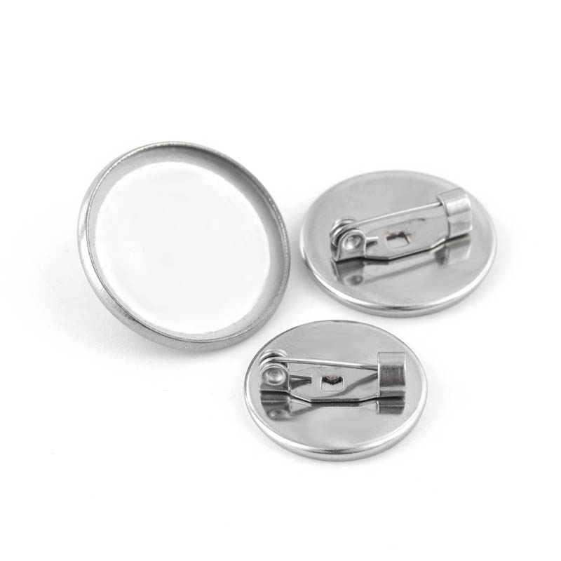 XINYAO 10pcs Stainless Steel Brooch Clasps Pin 20mm Disk Base Blank Cabochon Trays With Brooch Pins Cameo Cabochon Base Setting
