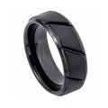 8mm Black Brushed Tungsten Carbide Rings For Him