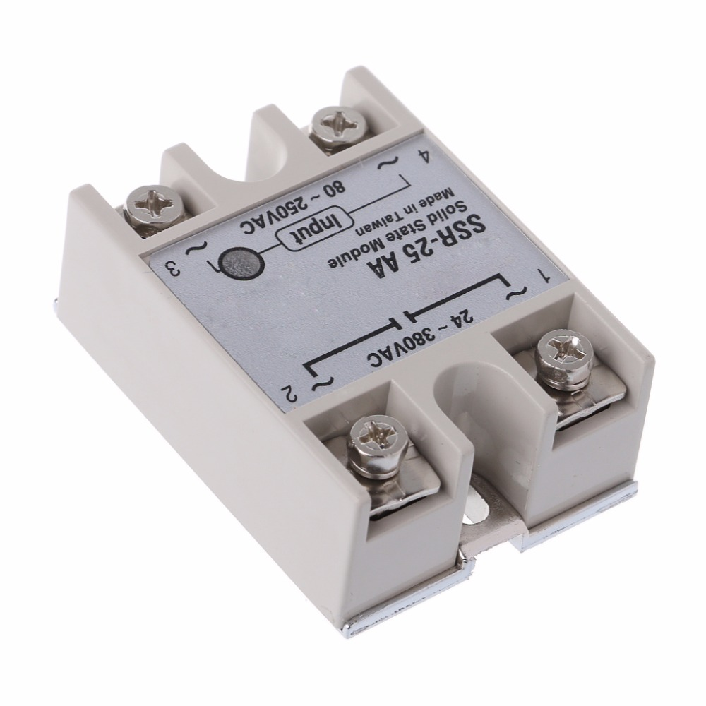 Solid State Relay Module SSR-25 AA 25A 250V 80-250V AC Input 24-380V AC Output