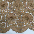 Khaki 3D Matt Milky Yarn Guipure Embroidery Fabric
