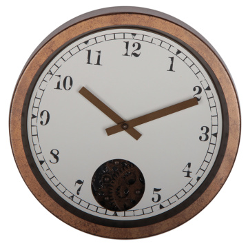 12 Inch Brown Metal Gear Wall Clock