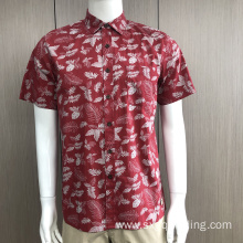 Men's 100%cotton print short sleeve shirt
