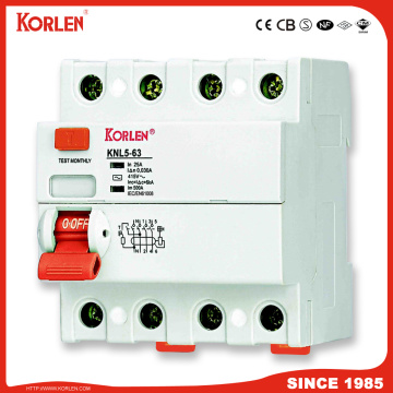Korlen New Type Residual Current Circuit Breaker RCCB Knl5-63 30, 100, 300mA with IEC61008-1