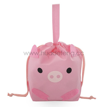Pink Non-woven Pig Party Handle Gift Packing Bag