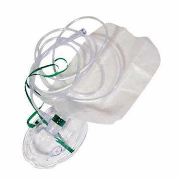 non-rebreathing oxygen mask with tubing and reservoir bag