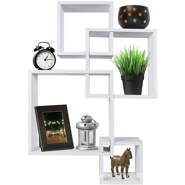 Decorative 4 Cube Intersecting Wall Mounted Floating Shelves White Finish