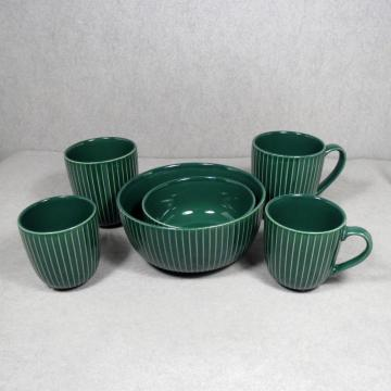 Stoneware Bowl and Mugs Green
