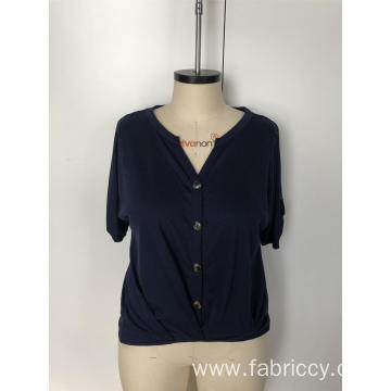 V-neck short - sleeved button top