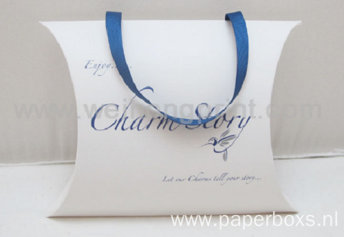 Full Color Small Pillow Paper Box with Ribbon
