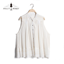 Single-breasted V-neck Woven Breathable White Lady Vest