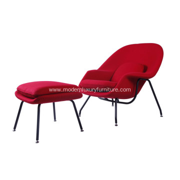 Classic Eero Saarinen Womb Red Cahsmere Lounge Chair