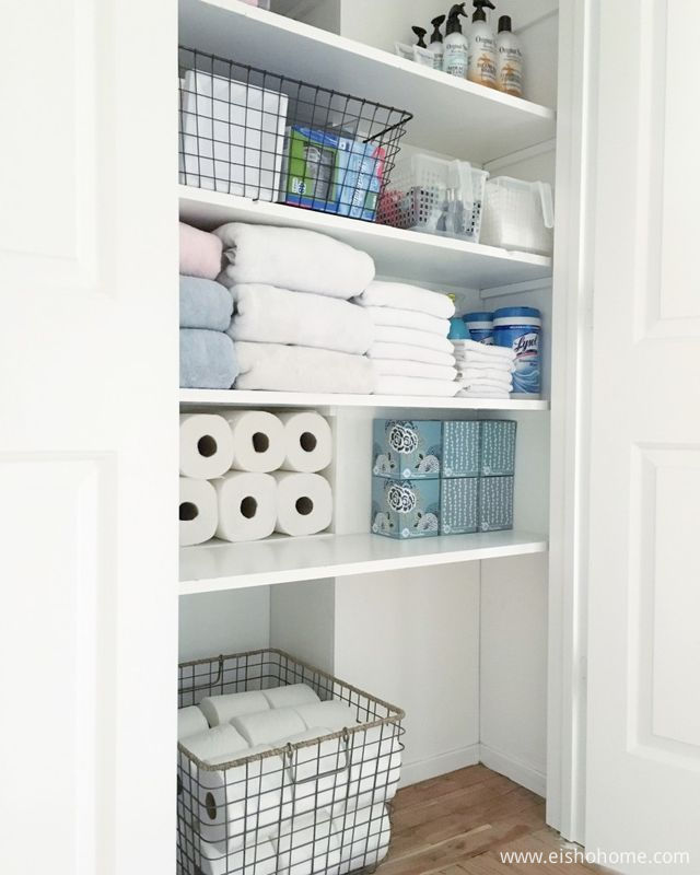 bathroom-closet-shelving-organized-simply-pinterest-idea-system-unit-diy-height-linen-wire-open