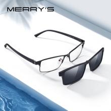 MERRYS DESIGN 2 In 1 Magnet Polarized Clip Glasses Frame Men Optical Myopia Clip Glasses For Men Eyeglasses Frame TR90 S2728