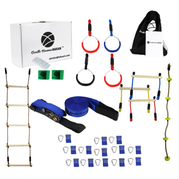 Kids Outdoor Play Slackline Hanging Obstacle Course Set