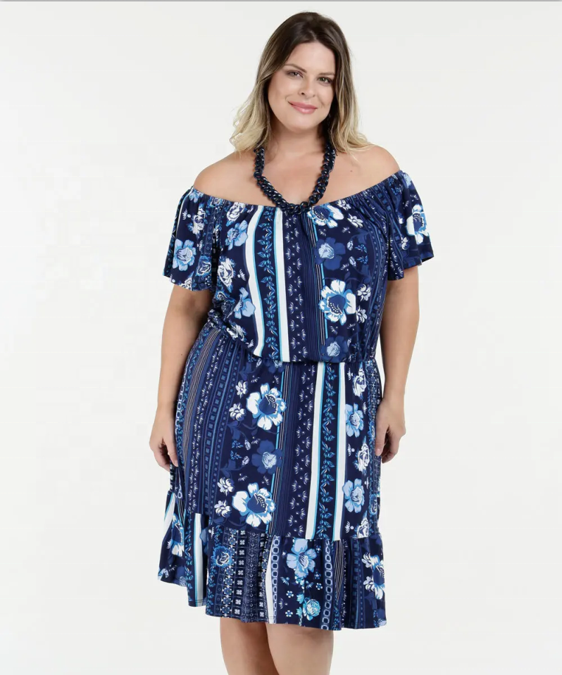 Women Casual Off Shoulder Sleeve Plus Size Dress