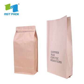 High quality resealable kraft paper coffee bag flat bottom Packaging bags with valve