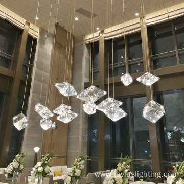 Home hotel glass crystal hanging white pendant lamp
