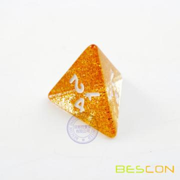 Golden Glitter 4 Sides Dice, Tetrahedral Dice