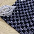 Neoteric Black Silver Sequin Checkerboard Embroidery Fabric