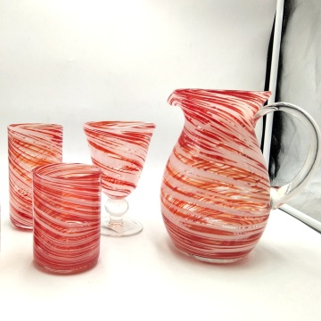 red color swirl effect red wine glass carafe tumbler