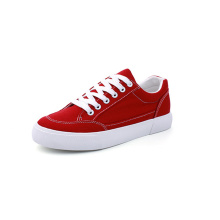 Women Low Top Lace Up Canvas Shoes Red