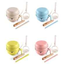 Straw Baby Food Supplement Grinder Manual Food Grinding Bowl Baby Puree Food Machine Tool Set Multifunction
