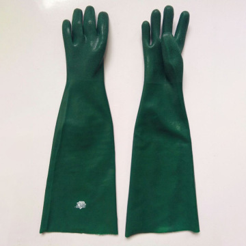 Green sandy finish lengthened flannelette lining gloves