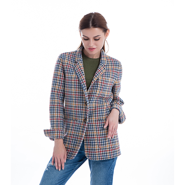 Thousand Birds Lattice Fashion Cashmere Overcoat