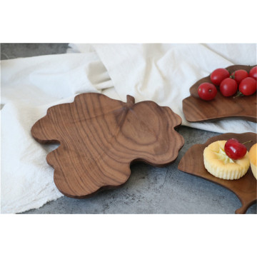 Leaf Shape Craetive Walunt Wooden Tray