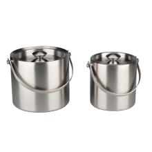 Brushed Stainless Steel Double-Walled Ice Bucket with Lid