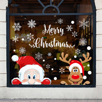 Christmas Stickers For Window Double-sided Static Window Stickers Glass Stickers Xmas Decor For Home Wall Stickers New Year 2021