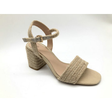 Ladies jute upper fashion chunky heel sandal