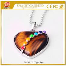Heart Shape Tiger Eye 7 Chakras Gemstone Necklace
