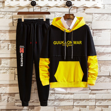 Fashion Men's polyester hooded sweatshirt suit