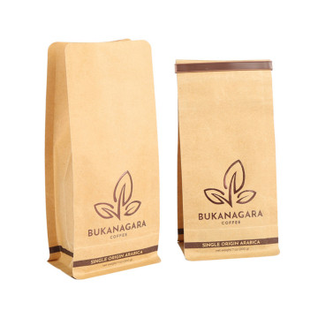 Biodegradable flat bottom coffee bag kraft paper packaging bag