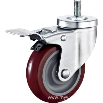 3'' Thread Stem Industrial PU Caster With PP Core With Brake