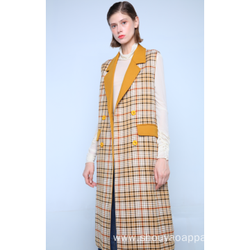 LONG BUTTONED CHECK WAISTCOAT